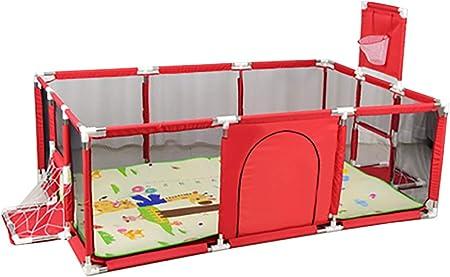 Parque bebés YXX Corralito Parque Infantil Grande para bebés pequeños para Camas gemelas, Patio de Juegos de Seguridad con colchoneta y aro de Baloncesto, Extra Alto 66 cm, Rojo/Azul