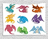 Ambesonne Dragon Tapestry, Cute Little Baby Winged Dragons in Different Colors Reptile Kids Nursery Cartoon, Wall Hanging for Bedroom Living Room Dorm, 80 W X 60 L Inches, Multicolor