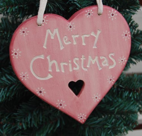 East of India Merry Christmas Heart Decoration