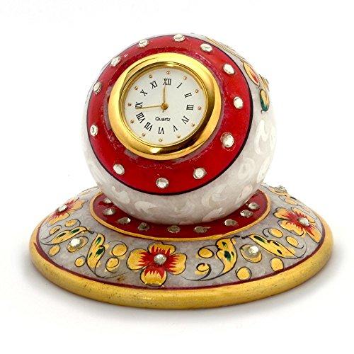 Little India Golden Floral Meenakari Work Marble Table Clock 385