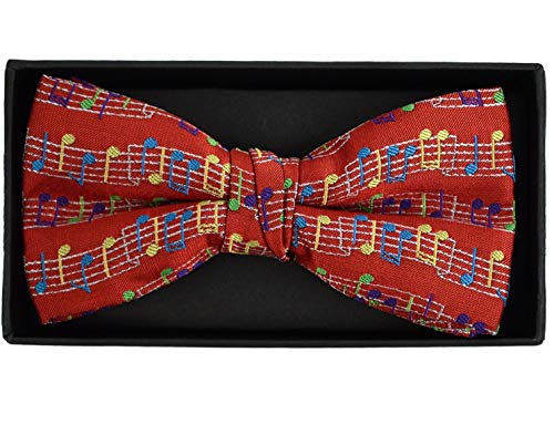 (Urban-Peacock Men's Banded Bow Ties with Gift Box (Music Notes - Red))