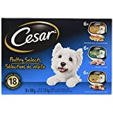 Cesar Entrées Food Trays for Dogs - Chicken - Turkey - Chicken & Liver - 100g (18 Pack)