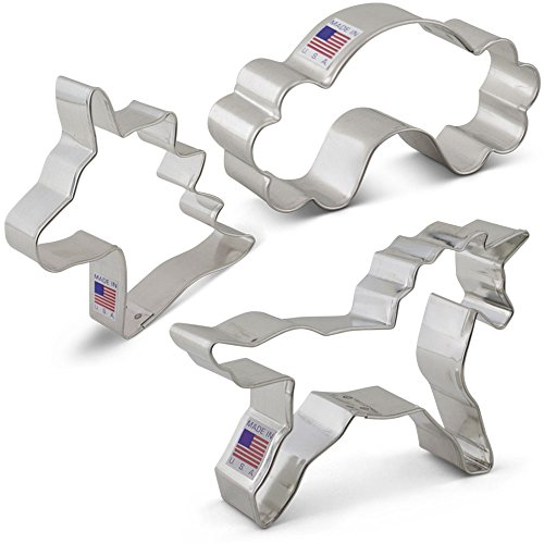Fantasy Unicorn Cookie Cutter Set - 3 Piece - Unicorn Head, Unicorn, and Rainbow - Ann Clark Cookie Cutters - US Tin Plated Steel ()