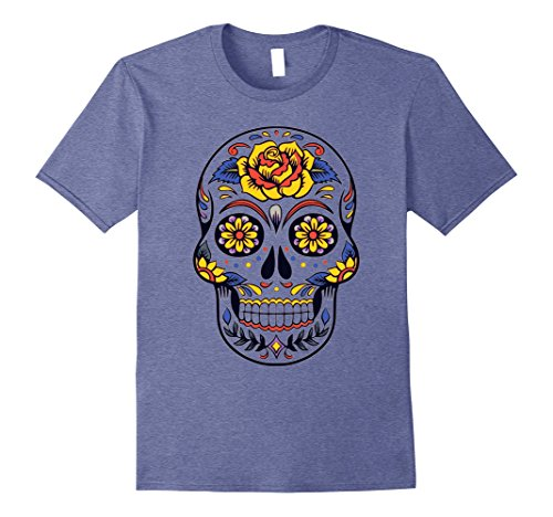 Mens Mrs Skull Candy Tshirt- Mexican Day of the Dead Shirt Makeup 3XL Heather Blue