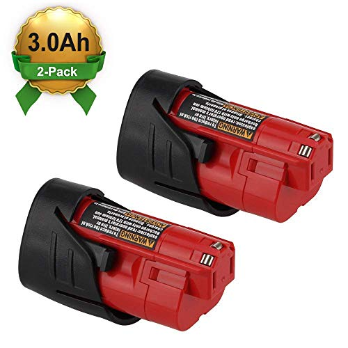 2Packs 12V 3000mAh Lithium-ion Replacement for Milwaukee M12 Battery 48-11-2402 48-11-2440 48-11-2411 48-11-2401 XC Cordless Drill Batteries (Milwaukee Tools M12 Battery)
