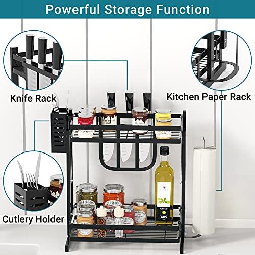 Spice Rack, Two-layer Spice Organizer & Holder, Folding Multi-function Seasoning Rack Storage Rack, Kitchen Countertop Standing Seasoning Organizer, Countertop Organizer, Save Kitchen Countertop Space
