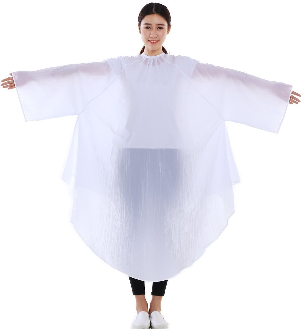 Maximum Cover Salon Hair Cutting Gown, Barber Hairdressing Coloring Cape with Sleeves - White Perfe Hair SW019