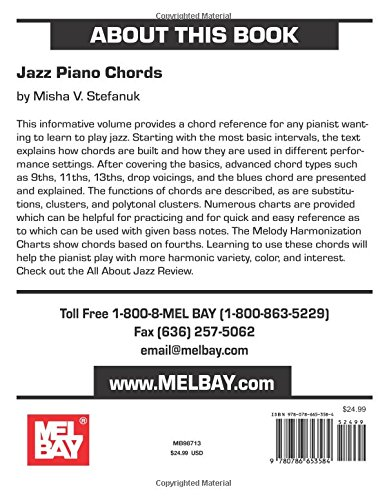 Mel Bay Jazz Piano Chords Misha V Stefanuk 9780786653584 Amazon