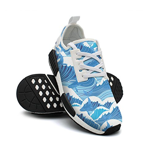 NAFG59Q Men's Athletic Running Shoes Fashion Sneakers Fitness Shoes Soft Sole Lightweight Breathable Whales More Wave Casual Walking Sneakers (Wave Bookends)