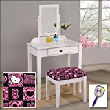 New White Finish Make Up Vanity Table with Mirror & Hello Kitty Themed Bench