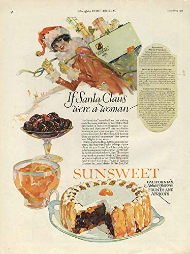 (If Santa Claus were a woman - Sunsweet Prunes & Apricots ad 1921 LHJ)