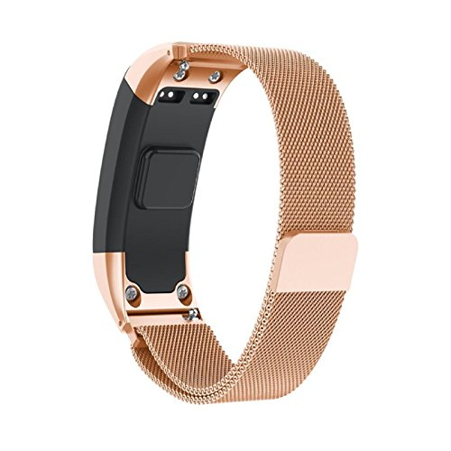 Owill Milanese Magnetic Loop Stainless Steel Watch Band Strap For Garmin Vivosmart HR, Fits for 6.29-8.07inches Wrist (Rose Gold) by Owill