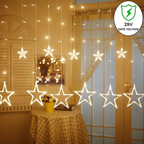 slashome Star Curtain Lights, 8 Modes, 29V, with 12 Stars 138pcs LED Waterproof Linkable Curtain String Lights, Warm White String Light for Christmas/Halloween/Wedding/Party Backdrop, UL Listed]()