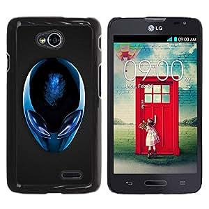 Be Good Phone Accessory // Dura Cáscara cubierta Protectora Caso Carcasa Funda de Protección para LG Optimus L70 / LS620 / D325 / MS323 // Blue Alien
