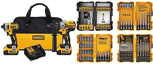DEWALT 20V MAX XR Brushless Impact Driver and Hammer Drill Combo Kit, Premium 4.0Ah DCK299M2 with DEWALT DWA2FTS100 Screwdriving and Drilling Set, 100 Piece