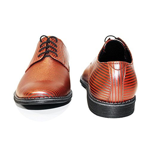 Uomo da Modello in Sera Morbido Scarpe Arancia Vacchetta Italiano Handmade Allacciare Pelle PeppeShoes Stripi Pelle da gvqSqXR