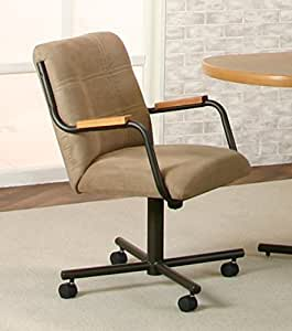 Casual Rolling Caster Dining Chair With Oak Arms And Microsuede