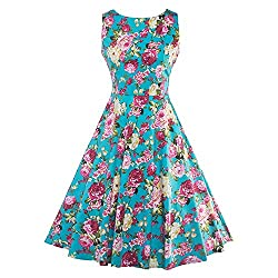 Summer Print Floral 1950s Style Party Dress Patchwork Sleeveless Luxury Dresses