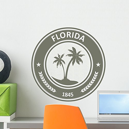 Wallmonkeys Florida Stamp Fl State Label with Palm Trees Wall Decal Peel and Stick Graphic WM361667 (18 in H x 18 in W) ()