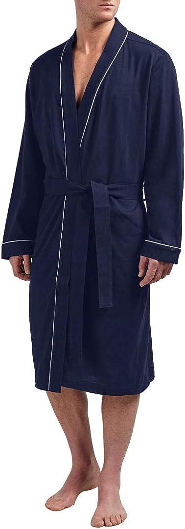 HOLOVE Men's Cotton Robe Plus Size Bathrobe Lightweight Spa Soft Sleepwear