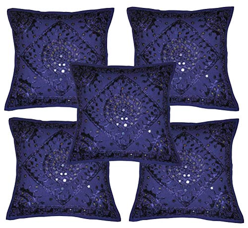 Jaipuri Handloom Crafts Indian Home Furnishing Decorative Heavy Handmade Embroidered and Mirror Work Indian Cotton Throw Pillow Cushion Covers 16 x 16 Inches Set of 5 Pcs (Blue)