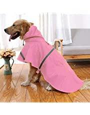 NACOCO Large Dog Raincoat Adjustable Pet Water Proof Clothes Lightweight Rain Jacket Poncho Hoodies with Strip Reflective (XL, Pink)
