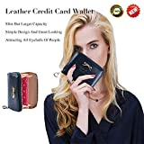 Leather Credit Card Wallet With Zipper Travel Wallet Credit Card Holder, Cute Wallets For Girls Women (black)