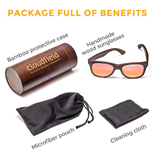 Wood Sunglasses Polarized for Men and Women by CLOUDFIELD - Wooden Wayfarer Style - 100% UV Protection - Premium Build Quality - Bamboo Wooden Frame - Perfect Gift by cloudfield (Image #4)
