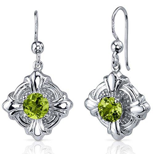 Peridot Dangle Earrings Sterling Silver Rhodium Nickel Finish Victorian Style