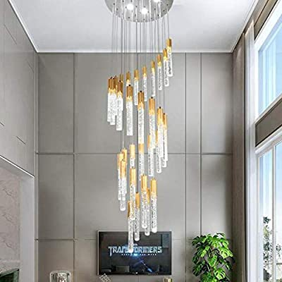 Bubble Crystal Light Lámpara Led De Oro Gold Luminaria De Suspensión De Barra Led Para Sala De Estar Escalera Larga Techo Colgante Lámparas De Araña En Espiral 18 Luces Lampara De Araña: