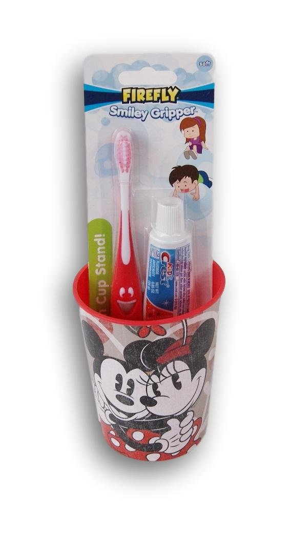 Mickey and Minnie Mouse Tooth Brushing Kit Toothbrush Toothpaste and Rinsing Cup