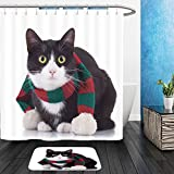 Vanfan Bathroom 2?Suits 1 Shower Curtains & ?1 Floor Mats cute black and white cat wearing winter scarf and looking at the camera 112230212 From Bath room