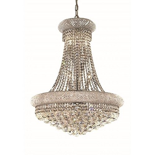 (Elegant Lighting 1800D24C/RC Primo Collection 14-Light Hanging Fixture Royal Cut Crystals with Chrome Finish)