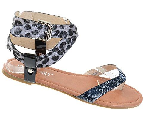 Cross Anklet Funky Leopard Sandal Fourever Criss Women's Leatherette qCfvWw6P
