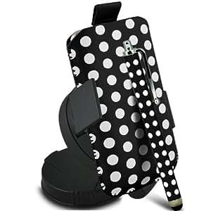 ONX3 Samsung Galaxy Pocket Neo S5310 Leather Slip protectora Polka PU de cordón en la bolsa con el caso de Quick Release, 360 que gira la horquilla del parabrisas del coche y Mini capacitivo Stylus Pen (Negro y Blanco)