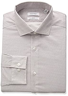 Calvin Klein Men's Non Iron Stretch Slim Fit Circle Print Dress Shirt