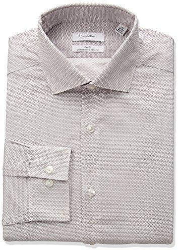 Calvin Klein Men's Non Iron Stretch Slim Fit Circle Print Dress Shirt, Garnet, 16