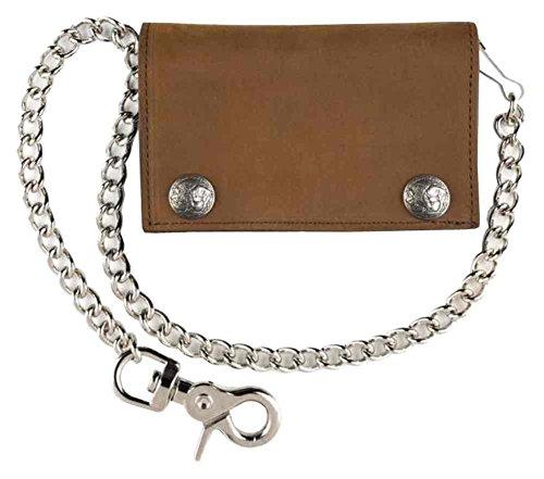 Mascorro Men's XL Tri-Fold Biker Chain Wallet w/ Snaps, Brown Leather PUB337