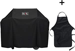 Miss Grill 7130 Grill Cover for Weber Genesis II 3 Burner Grill and Genesis 300 Series Grills with Apron, 58 x 44.5 Inch, Black