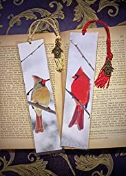 Set of 2 Snowy Red Cardinal Male & Female Cardinal Birds Photo Bookmarks w/ Antique Bronze Birdhouse Charm Fine Art Photography Photo Laminated Handmade Bookmarks