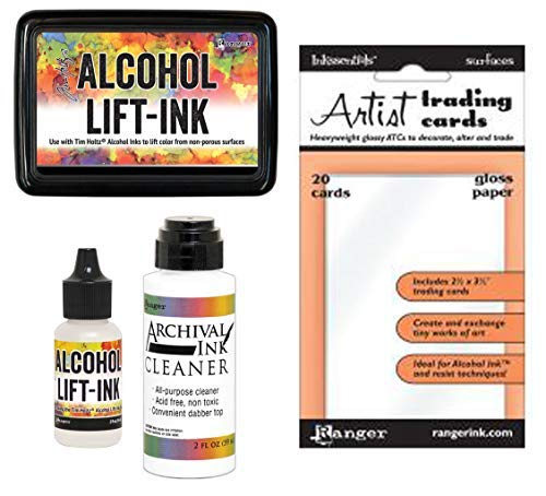 (Tim Holtz Alcohol Ink Lift-Ink Pad, Reinker, Cleaner and ATC Gloss Paper - 4 Item Bundle)