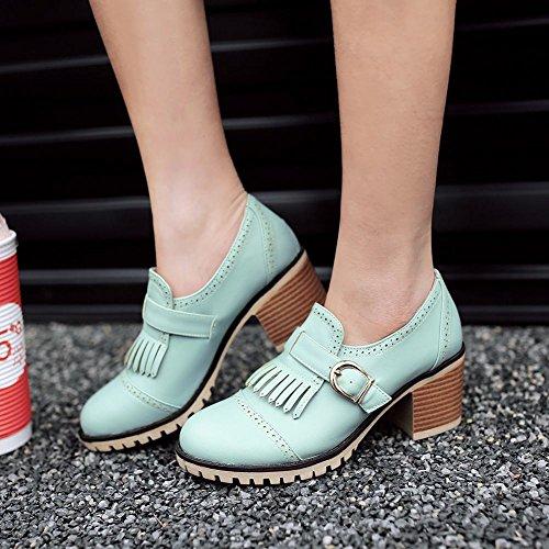 MissSaSa Damen Chunky heel Schnalle Pumps mit Quaste bequem Blockabsatz Plateau Knöchelriemchen runde Spitze Pumps Blau