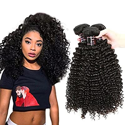 SOUMAOG 7A Unprocessed Brazilian Virgin Hair Kinky Curly 3Pcs Virgin Hair Weave Bundles Human Hair Extension 300g Natural Color 1B