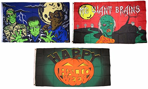 ALBATROS 3 ft x 5 ft Happy Halloween 3 Pack Flag Set #28 Combo Banner Grommets for Home and Parades, Official Party, All Weather Indoors -
