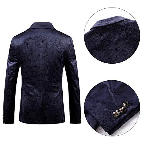 Bouton Veste Slim Cranté B Costume Casual Blazer Revers Bleu Deux Fit Floral Hommes Santimon Coupe Smoking qXER0Oqw