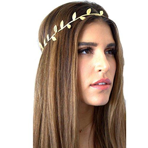 Leegor Women Elegant Leaf Queen Headband Elastic Girl Hairband Hair Accessories (Gold)