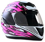 Youth Kids Full Face Helmet with Shield Motorcycle Street MX Dirtbike ATV - Pink (XL)