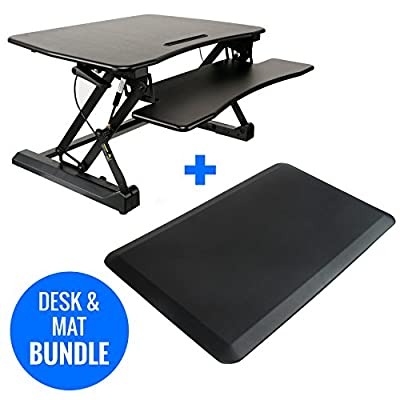ZooVaa Micro-Adjustable Sit to Stand Standing Desk Converter Riser Stepless Design w/Anti Fatigue Standing Mat Bundle