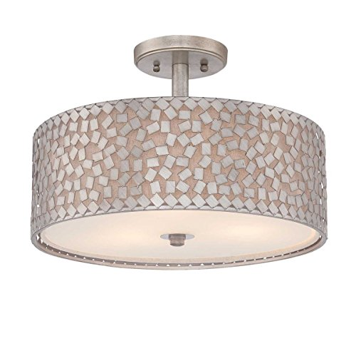 Quoizel CKCF1717OS  Confetti 3-Light Semi-Flush Mount, Old Silver (Confetti Ceiling Light)