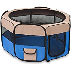 Internet's Best Soft Sided Pet Playpen - Small - Portable Puppy Pet Enclosure - Dog or Cat - Indoor Outdoor Mesh Kennel - Easy Travel - Folding and Collapsible Cage - Blue and Tan